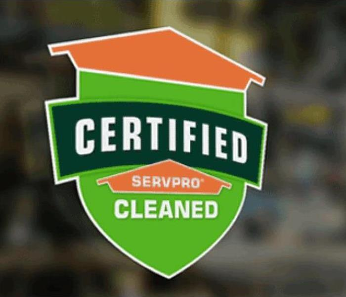 Certified: SERVPRO Cleaned sign to hang in your business